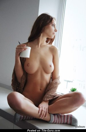Image. Nude beautiful lady with medium natural tits image