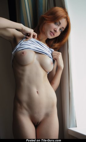 Sexy topless red hair image