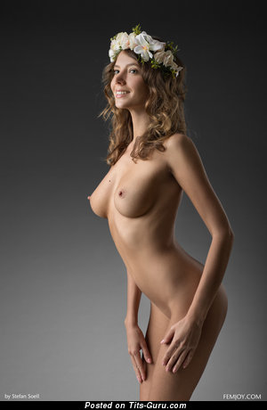 Image. Clover - sexy nude brunette with medium natural tits image