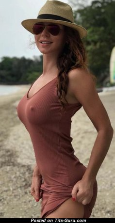 Superb Non-Nude Brunette with Superb C Size Busts on the Beach (Hd Xxx Pic)