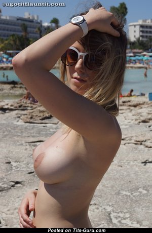 Delightful Topless Brunette with Delightful Defenseless Natural Firm Boobies & Giant Nipples is Undressing on the Beach (Hd Porn Image)